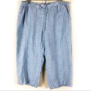 JM Collection Blue Linen Capris Size 18W